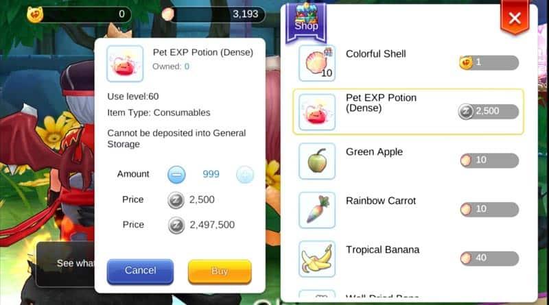 Pet EXp Dense Potion trick to level up your pets fast.