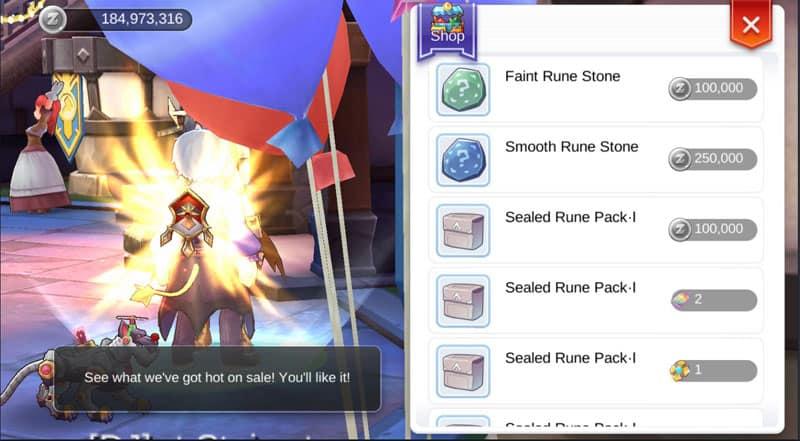 Buying rune stones and rune packs from the NPC.