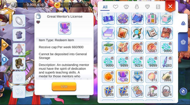 Great Mentor's License in-game description.