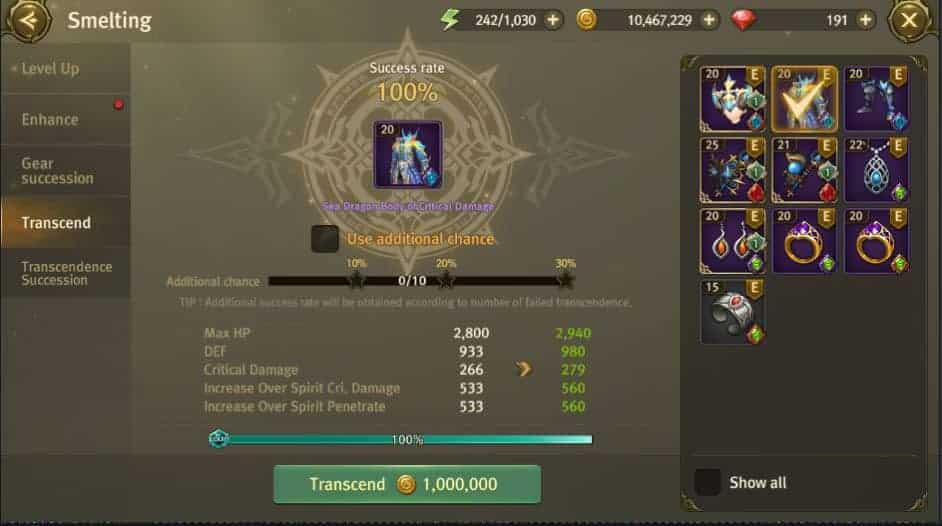 Gear Transcend menu in WODN.