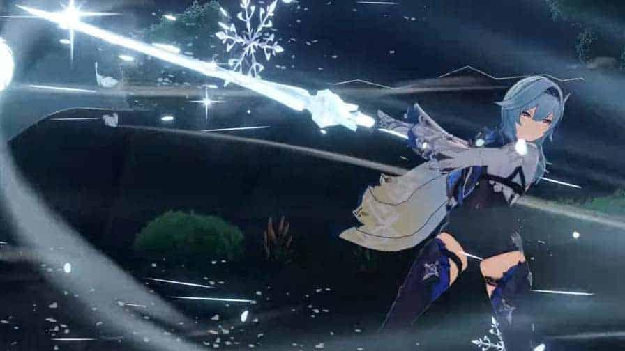 Eula's elemental burst in-game animation.