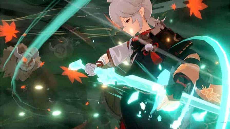 Kaedahara Kazuha using his elemental burst against Hilichurls.