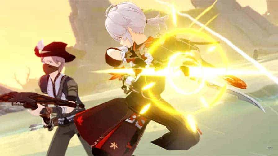 Kaedahara Kazuha attacking a treasure hoarder.